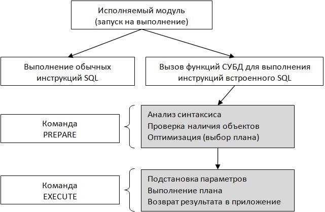 Схема выполнения программы со встроенными инструкциями динамического SQL с применением двухэтапной схемы
