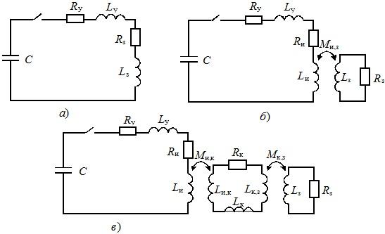 Схемы замещения разрядных цепей установок с пропусканием тока через заготовку (а) с индуктором (б) и концентратором (в)