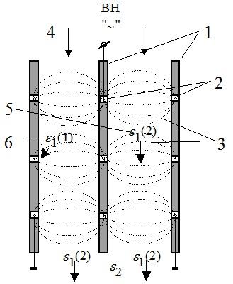 Схема диэлектрического сепаратора щелевого типа  (провода в диэлектрических пазах)