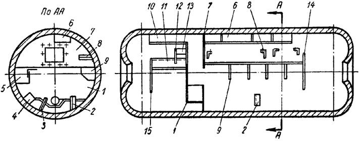 Схема расположения приварных деталей  внутрибарабанного устройства